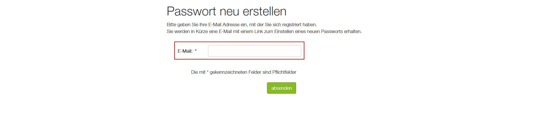 Passwort vergessen Formular